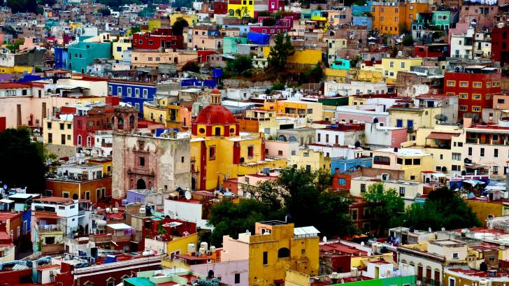 mexico city, colorful buildings