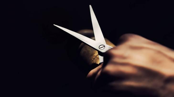pair of open scissors