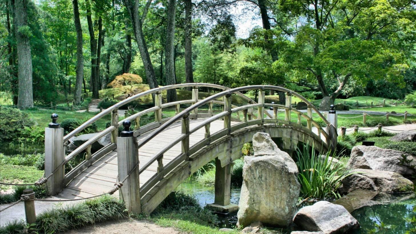 bridge connecting a Zen garden