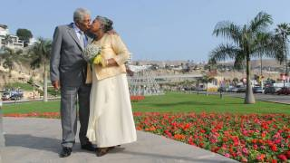 older couple kissing