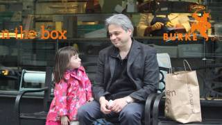 dad and daughter on a NYC bench