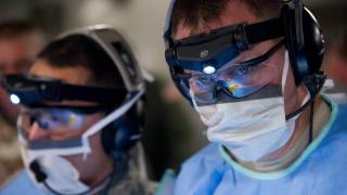 military medical staff with goggles and mask on