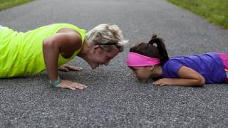strong push ups older adult and child