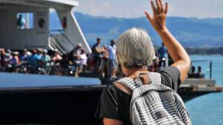 Older people on a boat going on a cruise
