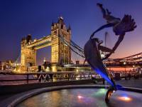 London bridge and dolphon jumping thru a hoop
