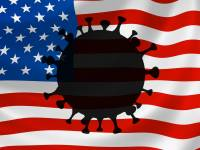 american flag with the coronavirus picture on it